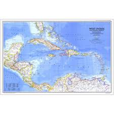 central america physical map 1981 west indies and central america map national geographic store
