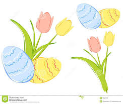 spring tulips and easter eggs clipart royalty free stock photos