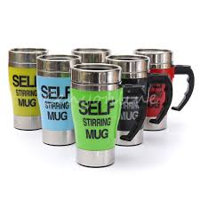 stainless steel self stirring mug mixes your drinks automatically