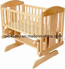 Baby Crib Bed China Multifunctional Solid Nz Pine Wooden Rocking Baby Crib Bed