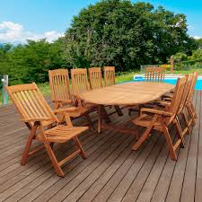 Teak Deck Chairs Amazonia Griffin 10 Person Teak Patio Dining Set With Folding Arm