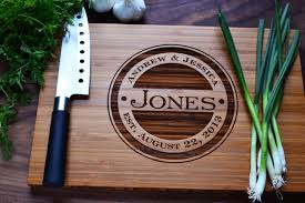 monogrammed wedding gift personalized cutting board engraved bamboo wood