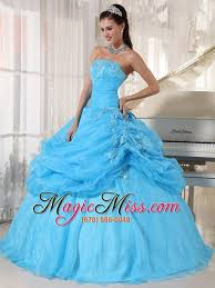 baby blue quinceanera dresses baby blue gown strapless floor length organza appliques