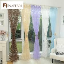 Window Sheer Curtains Floral Design Blue Curtain Tulle Fabrics Sheer Curtains For