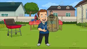 Backyard Shows A Man Proudly Shows Off A Clean Dress Jacket At A Backyard