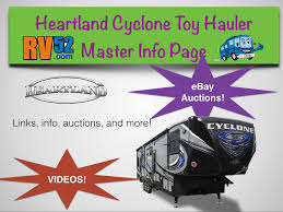 cyclone toy hauler video gallery info page and for sale page