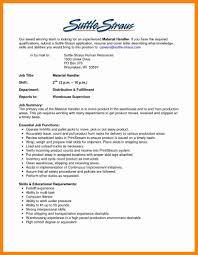 Ups Package Handler Job Description Resume 9 Materials Handler Job Description New Hope Stream Wood