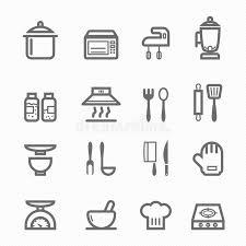 symbole cuisine ligne ensemble de symbole de cuisine d icône illustration de vecteur