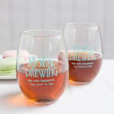 how to personalize a wine glass personalized 9 oz baby shower stemless wine glass