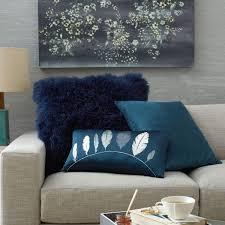Navy Velvet Cushion Cotton Lustre Velvet Cushion Cover Regal Blue 51cm West Elm Uk