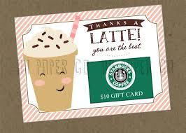 starbucks christmas gift cards thanks a latte gift card holder printable teacher gift
