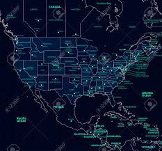 Futuristic Style Detailed Map Of The Usa Futuristic Style Royalty Free Cliparts