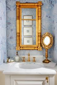 Gold Bathroom Mirror by Gold Bathroom Mirror With Pink Flowers Powder Room Contemporary