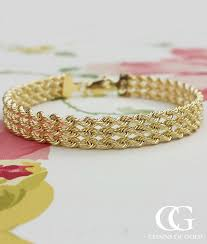 gold chain rope bracelet images 9ct yellow gold three strand rope bracelet 7 39 39 chains of gold jpg