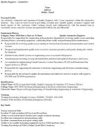Sample Electronics Engineer Resume by Quality Engineer Cv Example Icover Org Uk