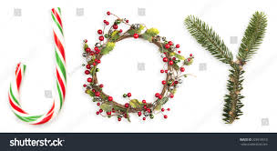 letters joy portrayed by christmas things stock photo 225910510