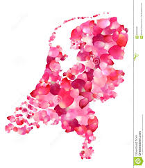 Map Of Netherlands Holland Silhouette Of Netherlands Map Of Rose Petals Stock Vector
