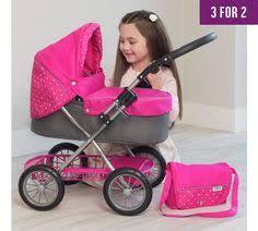 Kids Girls Dolls 4 Wheeler Kids Girls Pink Buggy Pram 4 Wheeler Pushchair Doll Stroller