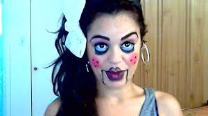 easy face makeup for halloween halloween tutorial easy intermediate scary puppet doll youtube