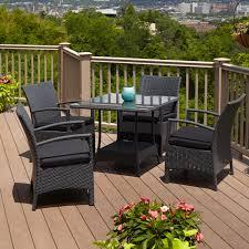 signature hardware belladonna resin wicker 5 piece patio dining