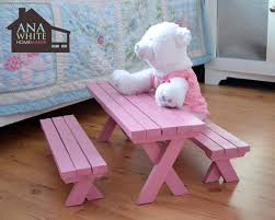 Plans For Picnic Table With Roof by Ana White Doll X Picnic Table And Bench Set Diy Projects
