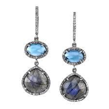 blue drop earrings london blue topaz and labradorite pavé diamond drop