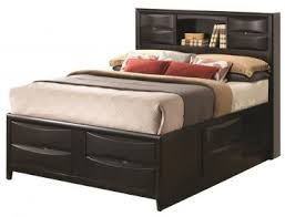 Queen Storage Beds With Drawers Briana Queen Storage Bed With Bookshelf In Black 202701q