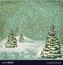 vintage christmas tree vintage postcard with christmas trees snow vector image