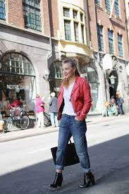 stylish womens motorcycle boots women u0027s red leather biker jacket white crew neck t shirt blue