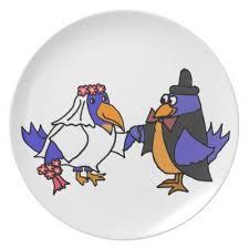 and groom plates bluebirds and groom wedding dinner plate