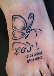 simple butterfly with lettering and numbers tattooimages biz