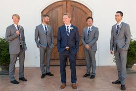groomsmen attire for wedding non matching guys and grey tie navy and gray