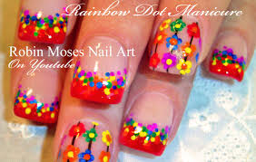 diy easy rainbow nails dot daisy nail art dotticure youtube