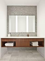 Backlit Mirror Bathroom by Sleek Contemporary Bathroom With Backlit Mirror And Floating