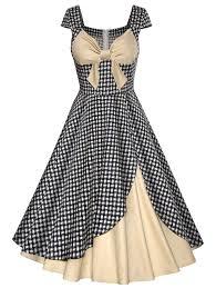 dress design vintage plaid bowknot design contrast panel dress plaid panel