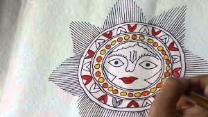 lesson 12 ह न द draw a sun sketch in madhubani painting