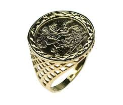 mens gold rings st george ring mens gold ring mens sovereign ring mens