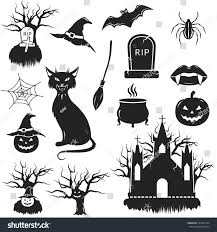 vector halloween halloween black white icons set vector stock vector 153531764
