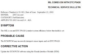 2003 honda accord catalytic converter 2003 honda accord p0420 intermittently catalytic converter one