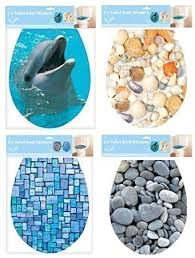 Bathroom Toilet Seat Adhesive Cover Decoration Dolphins & Shells