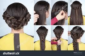 elegant updo braids hairstyle tutorial long stock photo 538295275