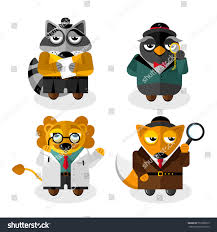 animal professions cartoon characters set isolated stock vector