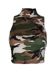 army pattern crop top buy womens skull camouflage army print polo neck stretchy crop top