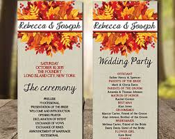 fall wedding programs etsy your place to buy and sell all things handmade