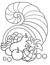thanksgiving day decorations with horn of plenty coloring page