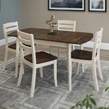 Solid Wood Dining Room Furniture Manhattan Comfort York 5 Piece Blue Wash Solid Wood Dining Set