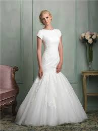 mermaid scoop neck cap sleeve tulle lace wedding dress with buttons