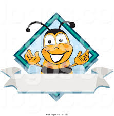 royalty free vector logo of a cartoon bee mascot with a blank
