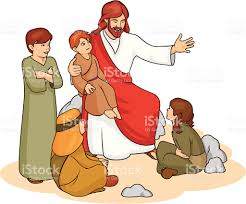 drawing of jesus and children telling them a story stock vector