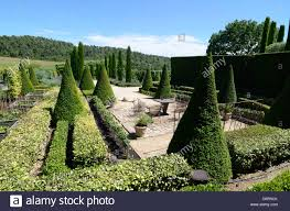 topiary or trimmed cypress trees outdoor terrace at the val